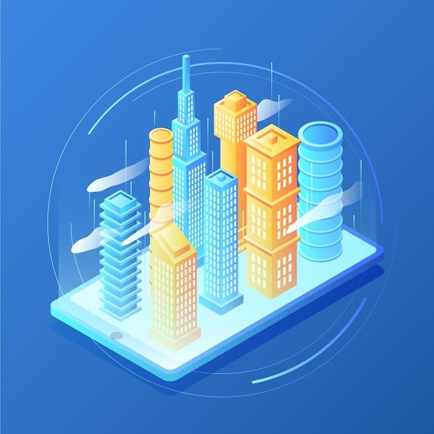 Isometrische stadt der augmented reality Premium Vektoren