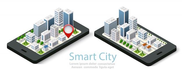 Isometrische stadt der karte 3d des mobiles Premium Vektoren