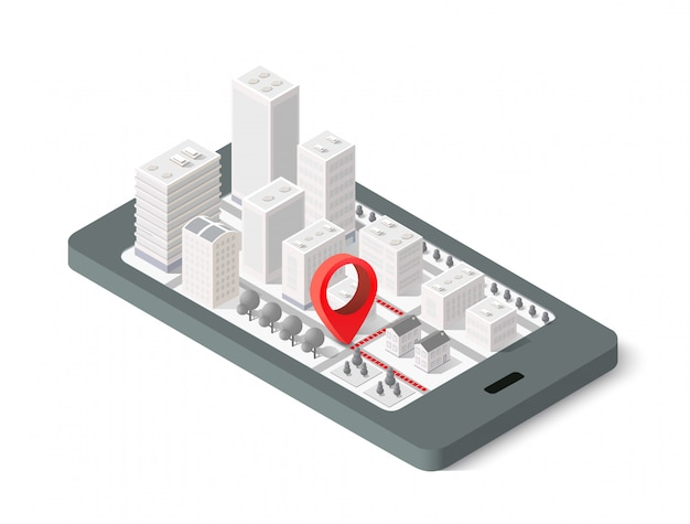 Isometrische stadt der karte 3d Premium Vektoren
