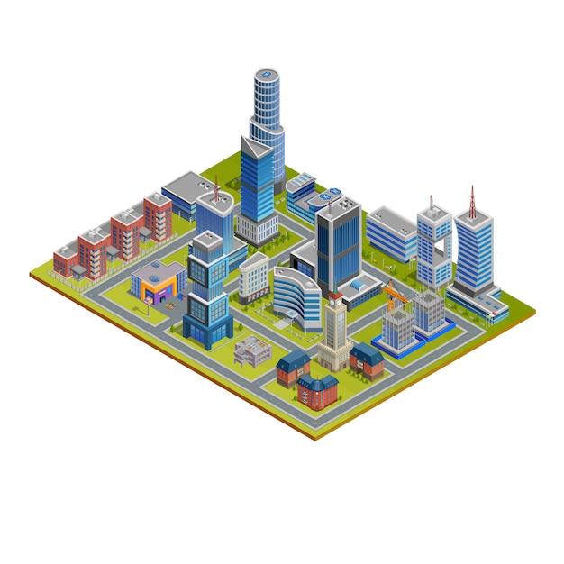 Isometrische stadt illustration Kostenlosen Vektoren