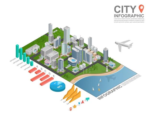 Isometrische stadt infografik. Premium Vektoren
