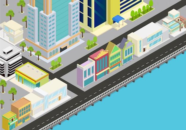 Isometrische stadt mit blick auf das meer Premium Vektoren