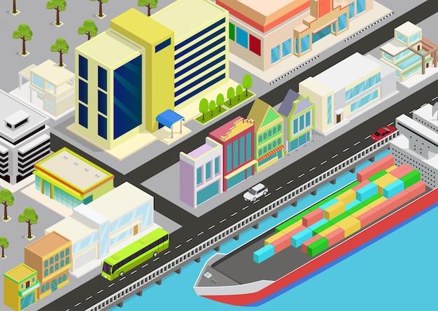 Isometrische stadt mit blick auf meer und frachtschiff Premium Vektoren