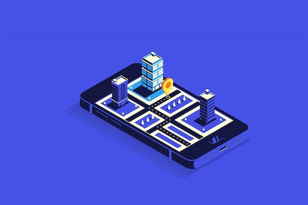 Isometrische stadt mit straßen und gebäuden auf smartphone. karte auf mobiler anwendung. Premium Vektoren