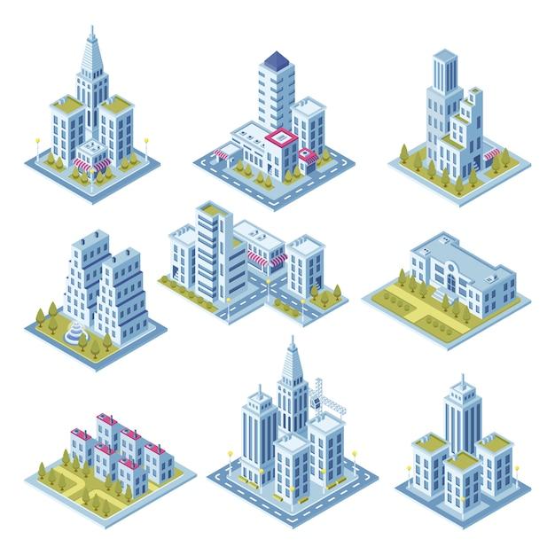 Isometrische stadtarchitektur, stadtbildgebäude, landschaftsgarten und geschäftslokalwolkenkratzer. Premium Vektoren