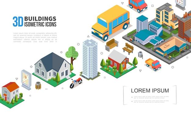 Isometrische stadtbild-elementensammlung mit stadtgebäuden wolkenkratzer-vorstadthäusern fahrzeuge müllbäume bänke illustration Kostenlosen Vektoren