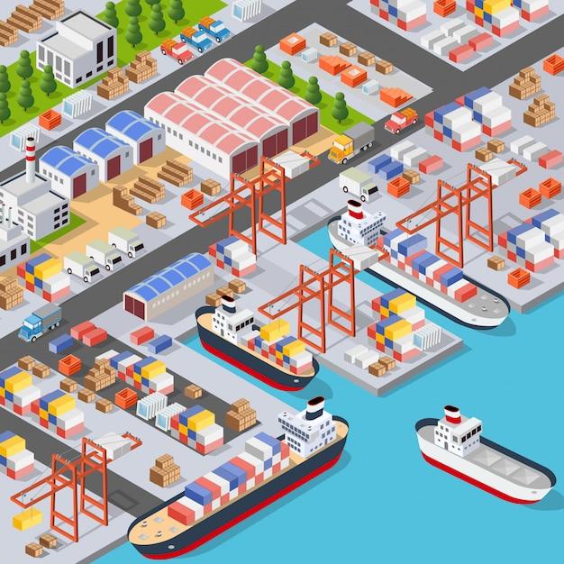Isometrische stadtboulevard Premium Vektoren