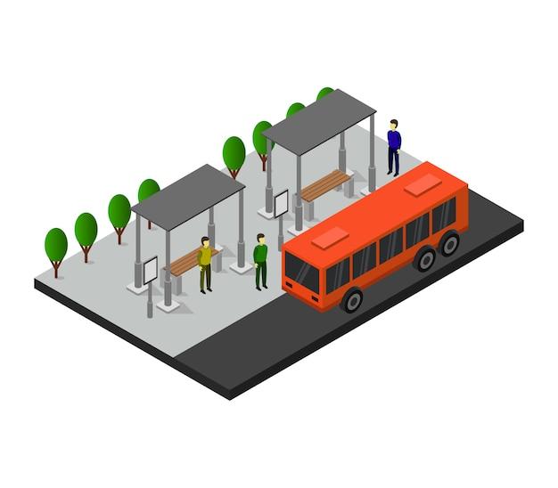 Isometrische stadtbushaltestelle Premium Vektoren