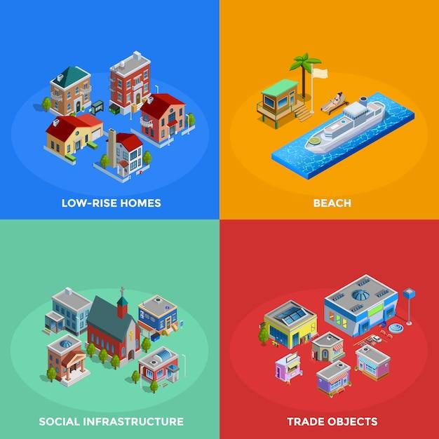 Isometrische stadtelemente und zeichen Kostenlosen Vektoren