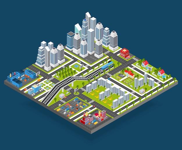 Isometrische stadtillustration Kostenlosen Vektoren