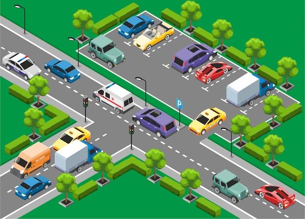 Isometrische stadtverkehrsvorlage Kostenlosen Vektoren