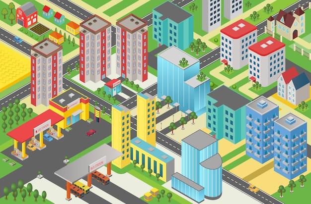 Isometrische städtische moderne stadt megapolis draufsicht Premium Vektoren
