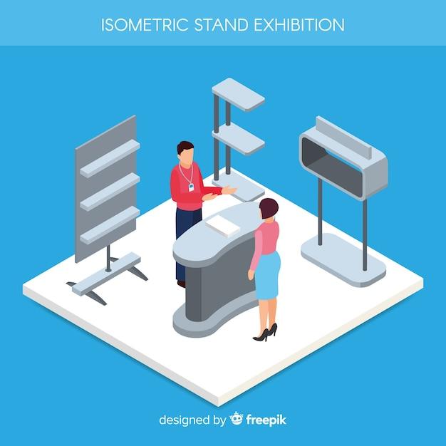 Isometrische standausstellung design Kostenlosen Vektoren