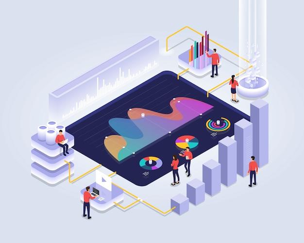 Isometrische statistikanalyse Premium Vektoren