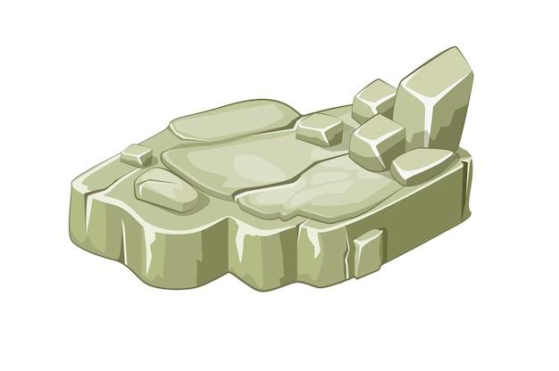 Isometrische steininselplattformen. felsen oder klippe. Kostenlosen Vektoren