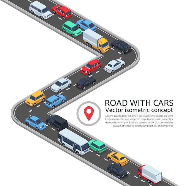 Isometrische straße mit autos. konzept der landstraße 3d und der fahrzeuge Premium Vektoren