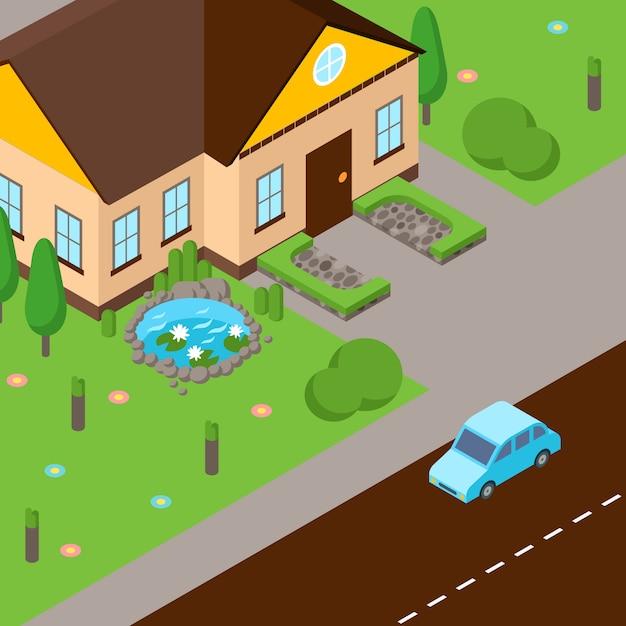 Isometrische straße scenehouse mit grünem rasen, straße und auto unterwegs Premium Vektoren