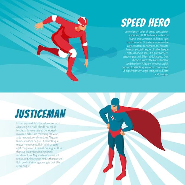 Isometrische superhelden-banner Kostenlosen Vektoren