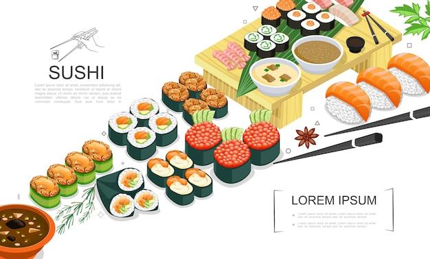 Isometrische sushi-lebensmittel-sammlung mit sashimi-rollen verschiedener arten gewürze seetang saucen wasabi essstäbchen illustration Kostenlosen Vektoren