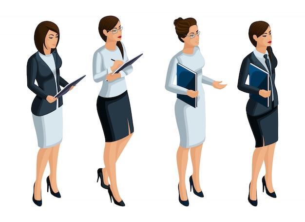 Isometrische symbole der emotionen der frau, geschäftsfrau, ceo, anwalt. gesichtsausdruck, make-up. qualitative isometrie von menschen für illustrationen Premium Vektoren