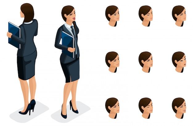 Isometrische symbole der emotionen der frau, körpervorderansicht und -rückansicht, gesicht, augen, lippen, nase. gesichtsausdruck. qualitative isometrie von menschen für Premium Vektoren