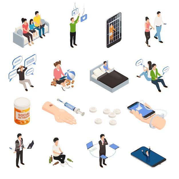 Isometrische symbole der internet-smartphone-gadget-sucht, die mit elektronischen geräten der menschlichen zeichen und der bildlichen piktogramm-vektorillustration der sucht eingestellt werden Kostenlosen Vektoren
