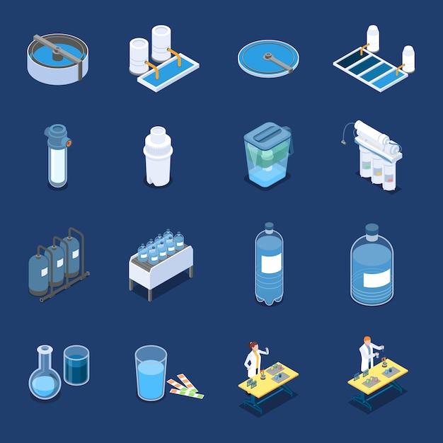Isometrische symbole der wasserreinigungssysteme mit industrieller reinigungsausrüstung und blauen blauen vektorillustrationen der hauptfilter Kostenlosen Vektoren