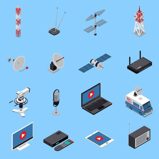 Isometrische symbole für die telekommunikation, die mit rundfunkgeräten und elektronischen geräten festgelegt wurden Kostenlosen Vektoren