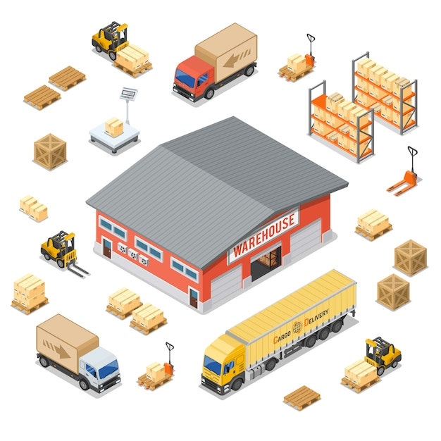 Isometrische symbole für lagerung und lieferung im lager festgelegt Premium Vektoren