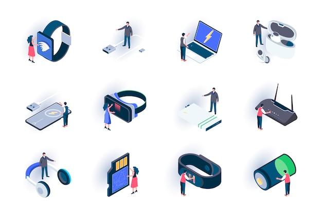 Isometrische symbole für technologiegeräte festgelegt. innovative intelligente geräte, moderne digitale technologien in der flachen illustration des lebens. mobile digitale geräte 3d isometrie piktogramme mit personen zeichen. Premium Vektoren