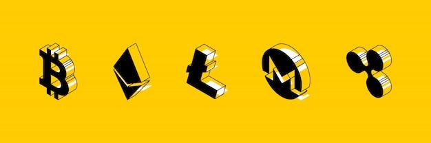 Isometrische symbole verschiedener kryptowährungen auf gelb Premium Vektoren