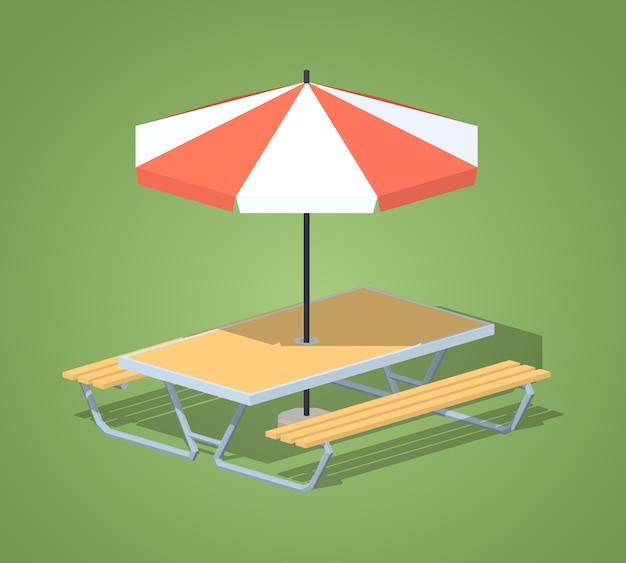Isometrische tabelle des cafés 3d mit sonnenschirm Premium Vektoren