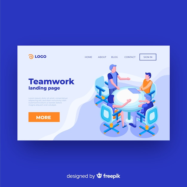 Isometrische teamwork landing page vorlage Kostenlosen Vektoren