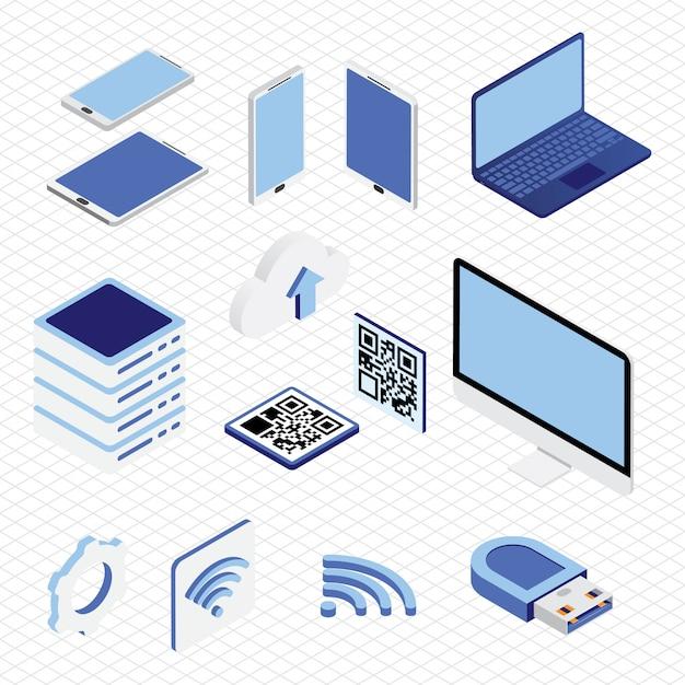 Isometrische technologie sammlungssatz Premium Vektoren