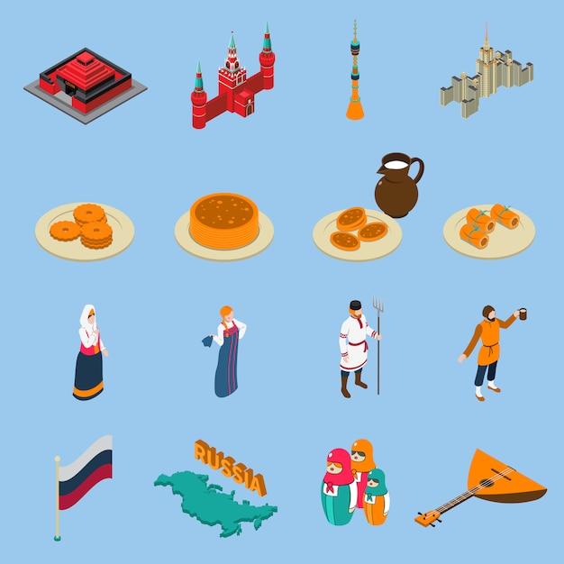 Isometrische touristische ikonen russlands eingestellt Kostenlosen Vektoren