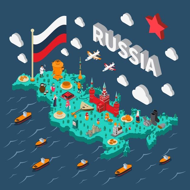 Isometrische touristische karte russlands Kostenlosen Vektoren