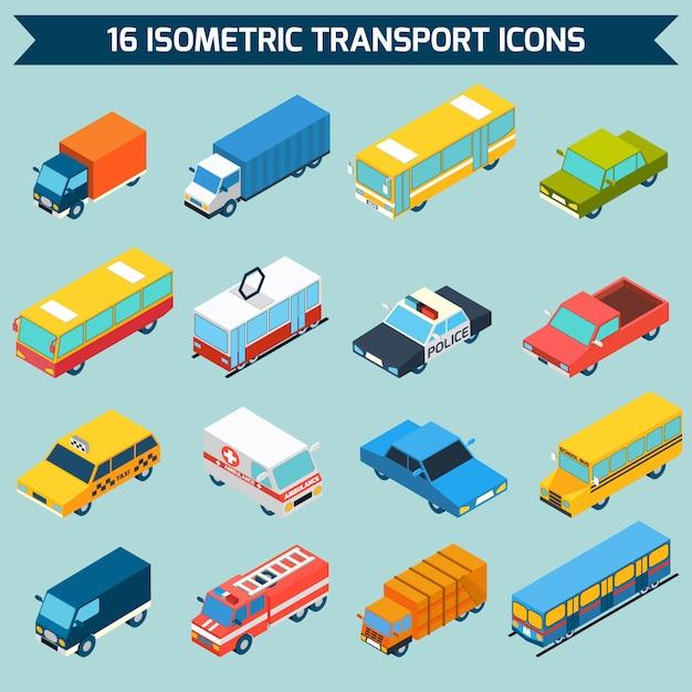 Isometrische transport icons set Kostenlosen Vektoren