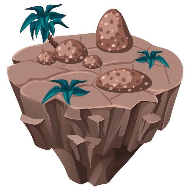 Isometrische tropische insel mit steinen. Kostenlosen Vektoren