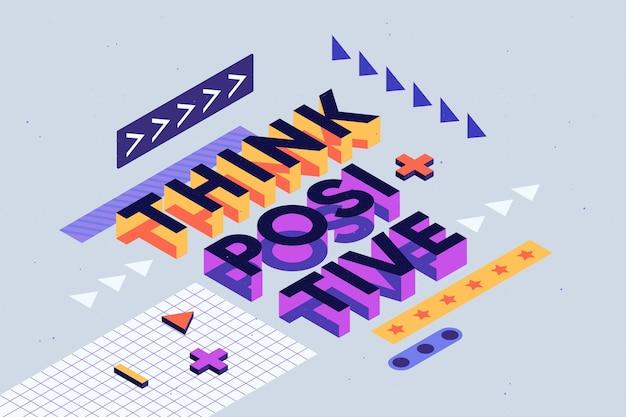 Isometrische typografische nachricht positiv denken Kostenlosen Vektoren