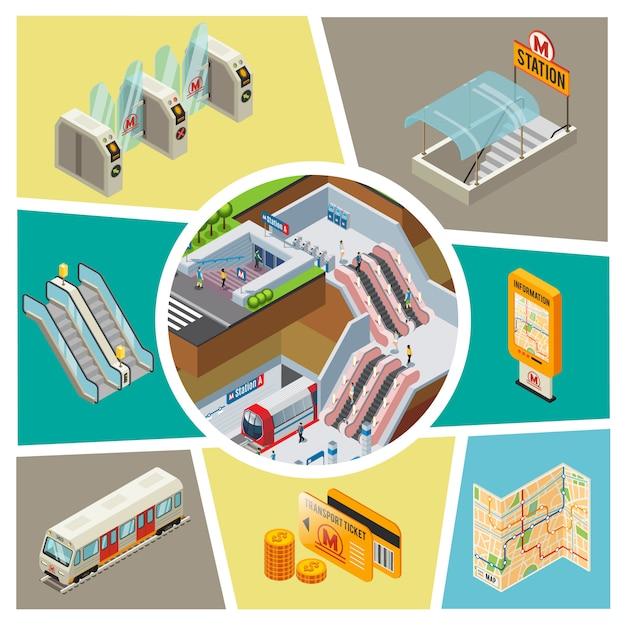 Isometrische u-bahn-elemente zusammensetzung mit u-bahn-station passagiere zug drehkreuze unterirdischen eingang informationstafel navigation karte münzen transporttickets rolltreppe Kostenlosen Vektoren