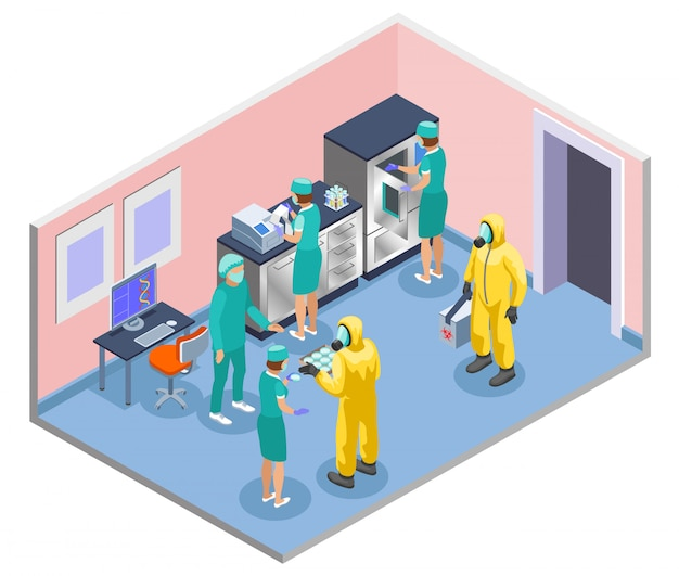 Isometrische und farbige zusammensetzung der mikrobiologie mit wissenschaftlern in laborkitteln und illustrationen für medizinische masken Kostenlosen Vektoren