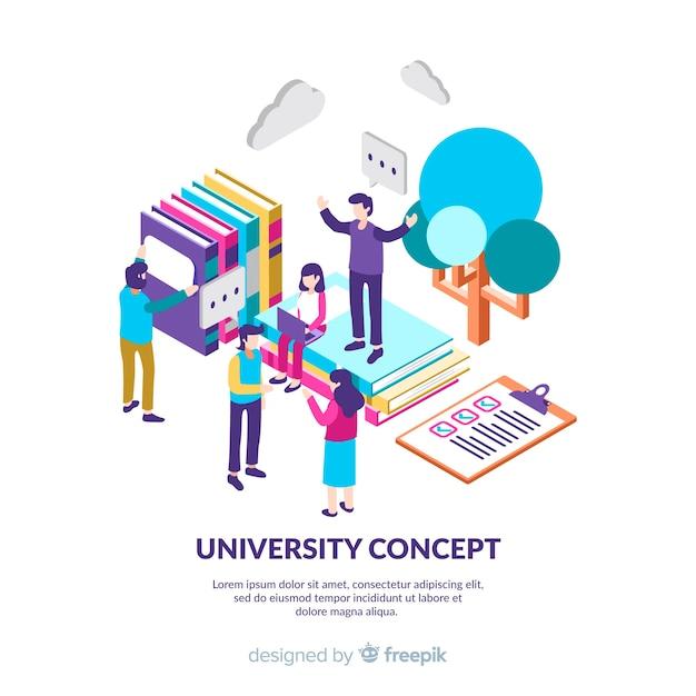 Isometrische universität hintergrund mit studenten Kostenlosen Vektoren