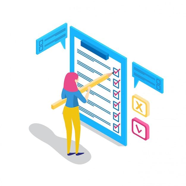 Isometrische unternehmer mit checklisten und aufgabenlisten. Premium Vektoren