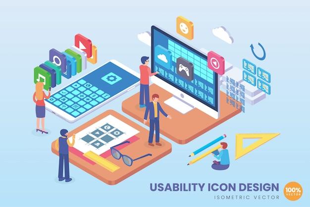 Isometrische usability icon design illustration Premium Vektoren