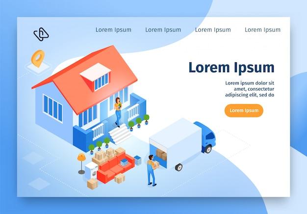 Isometrische vektor-website der beweglichen hauptservice Premium Vektoren