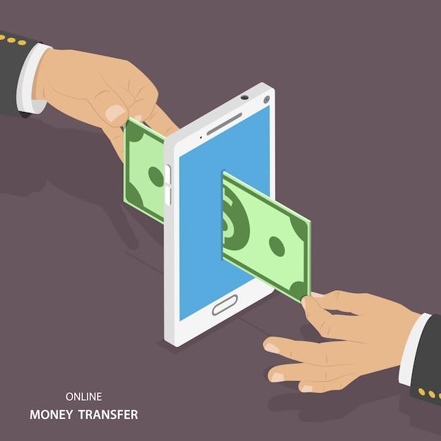 Isometrische vektorillustration der on-line-geldüberweisung. Premium Vektoren