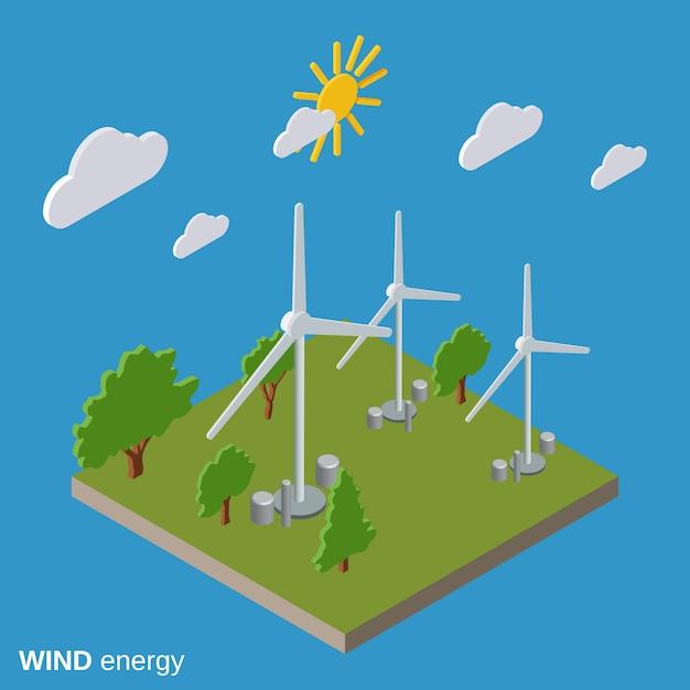 Isometrische vektorillustration der windenergie flach Premium Vektoren