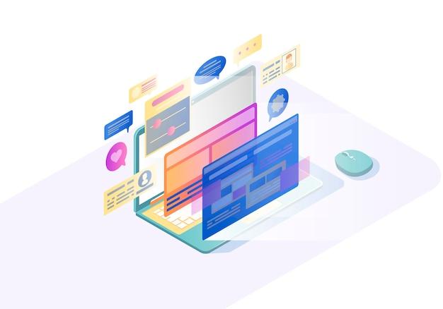 Isometrische vektorillustration des laptops ui Premium Vektoren