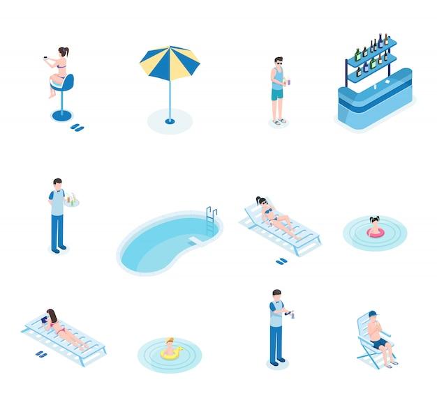 Isometrische vektorillustrationen der sommerzeitfreizeit eingestellt. touristen, barkeeper und kellner 3d-comicfiguren Premium Vektoren
