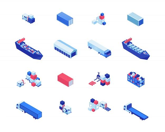 Isometrische vektorillustrationen des versandgeschäfts eingestellt. frachtschiffe, lagerhallen, gabelstapler für fracht und lkw. maritime sendung lieferung, transportindustrie design-elemente Premium Vektoren